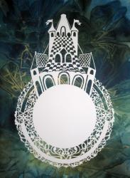 An intricate laser cut ceremonial wedding ring makes this ketubah special.
