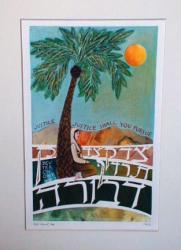 The Judge Deborah sits beneath her palm tree.
