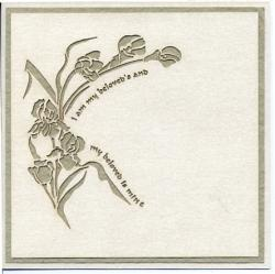 This is a laser cut floral wedding invitation, closed view.