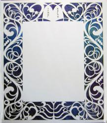 The modern lines of this ketubah features traditional symbols in a symmetrical f