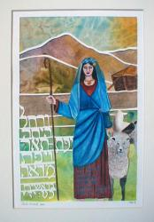 This painting shows the beautiful Rachel with her sheep.