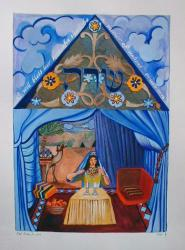 This painting shows Sarah sitting inside her tent, lighting candles for Shabbat.